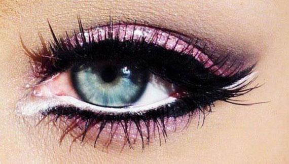 مدل خط چشم سفید,عکس خط چشم سفید,خط چشم سفید داخل چشم,خط چشم سفید,کشیدن خط چشم سفید