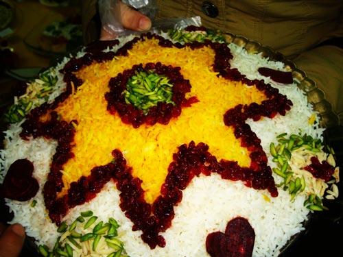 تزئين برنج مجلسی,برنج تزیین شده,تزيين برنج